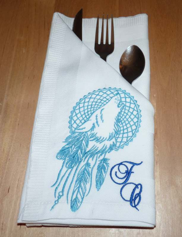 Kitchen napkin with Dreamcatcher and wolf embroidery design