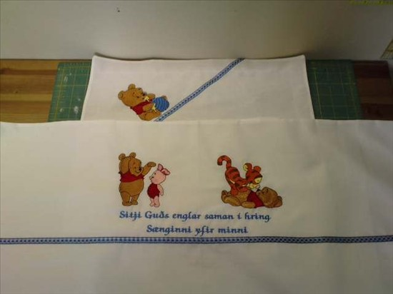Winnie Pooh and his baby friends embroidered