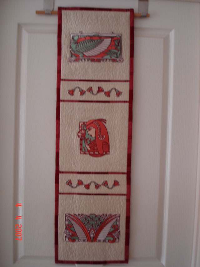 Embroidered quilt with Egypt designs