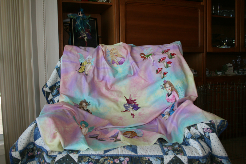 Cute embroidered blanket with fairies