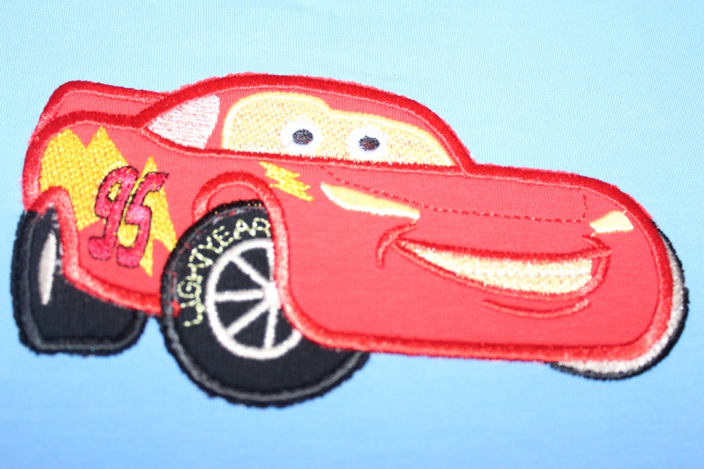 Lightning McQueen applique on embroidered t-shirt