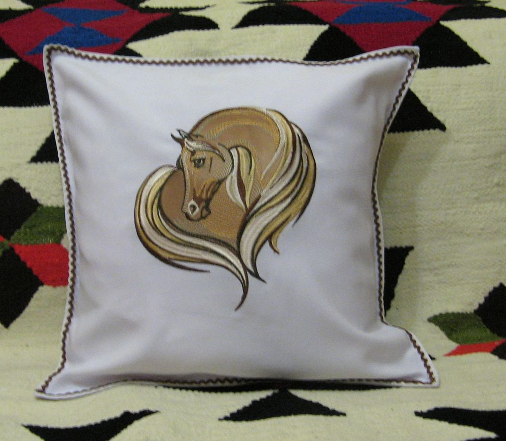 Pillowcase with horse heart design embroidered