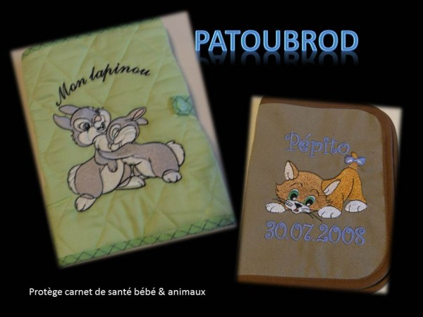 Rabbita and cat embroidery designs on covers