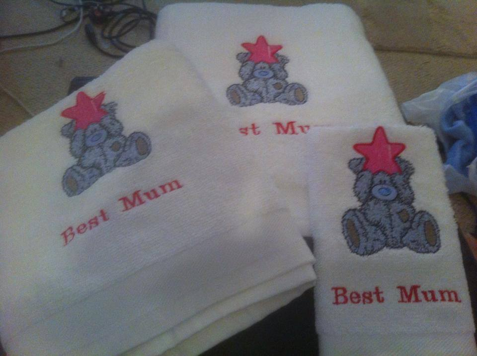 Blue nose bear with star embroidered on soft bath towel