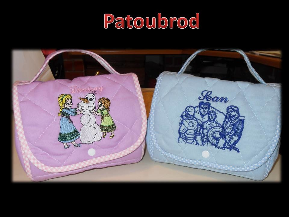 Frozen sisters and superheroes embroidered on bags