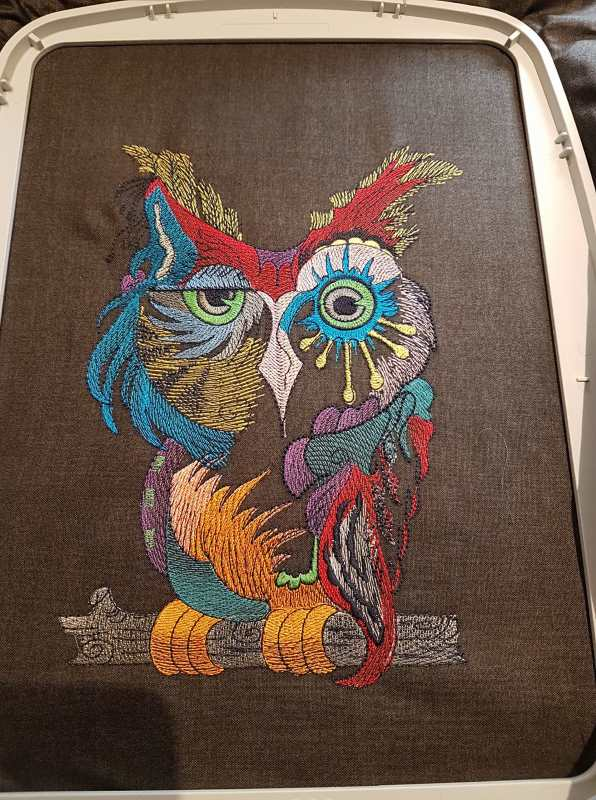 finished owl embroidery design