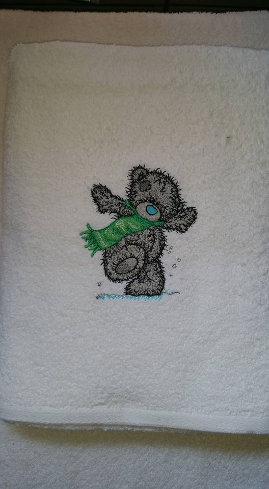Towel with Teddy bear winter embroidery design
