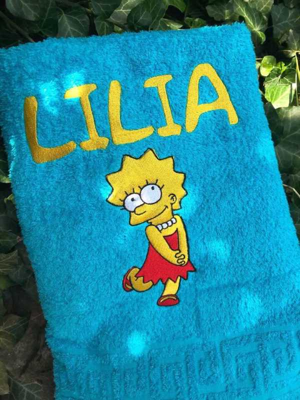 Bath towel with Lisa Simpsons free embroidery design