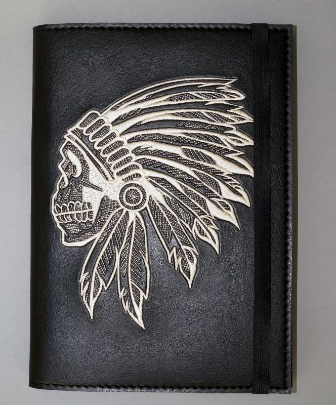 Leather embroidered id cover with native american design