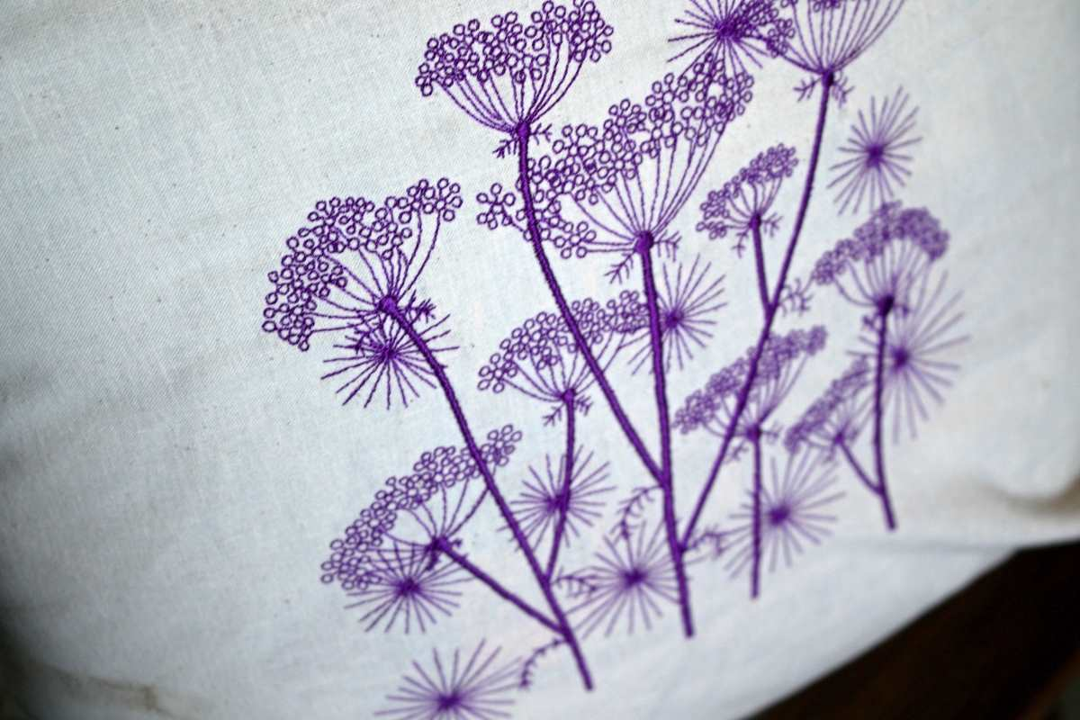 Embroidered cow parsnip design