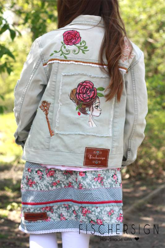 Denim jacket with peony girl embroidery design