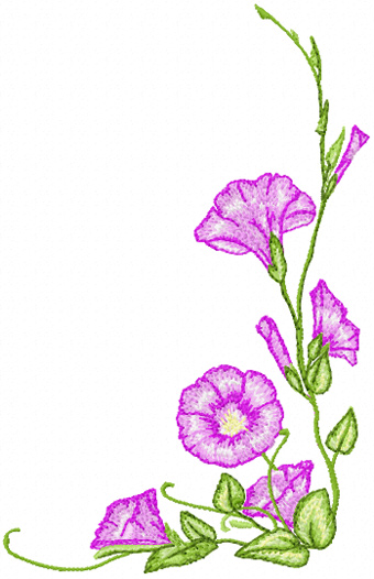 Morning Glory Flower Embroidery Design