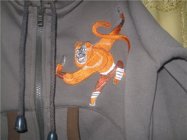 Master monkey design on jacket embroidered
