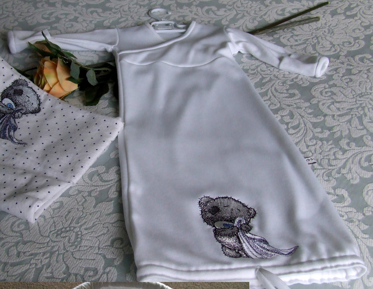 Cute tatty teddy embroidered on baby dress