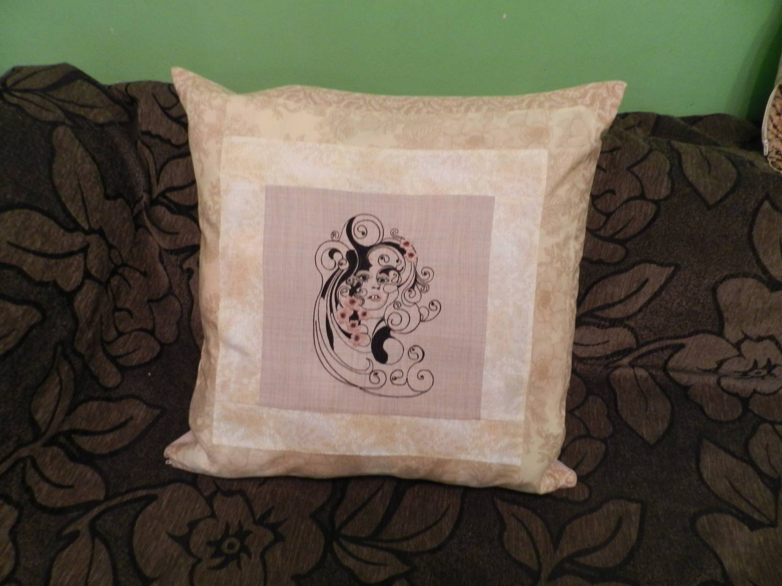 Pillowcase with embroidered woman design
