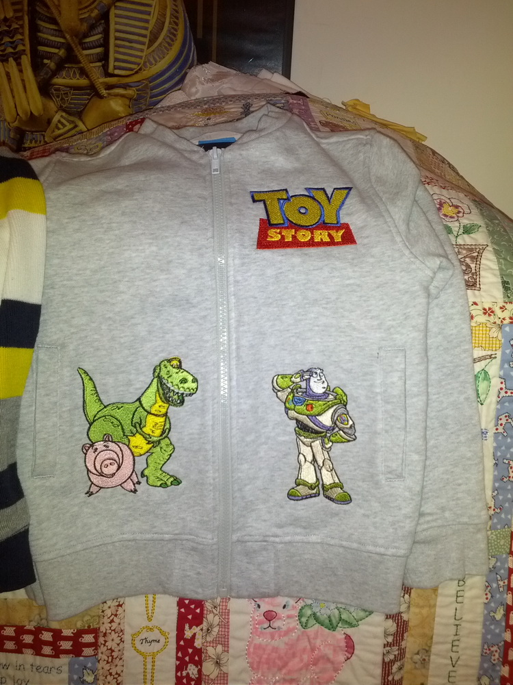 Buzz Toy Story logo Dinosaur Rex and Pig design on jacket embroidered