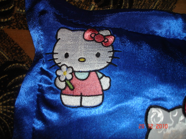 Blue embroidered pillowcase with Hello Kitty