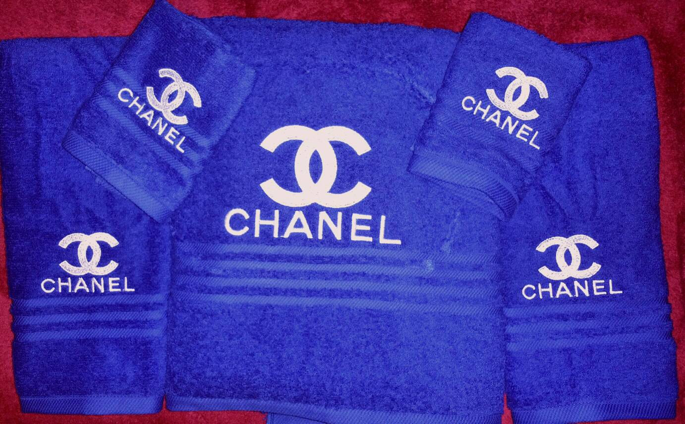 Сhanel logo design on towel embroidered