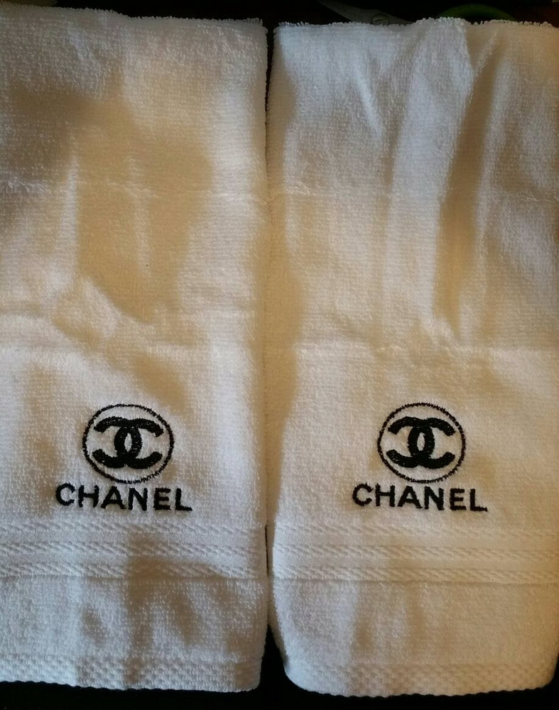 Embroidered Сhanel logo on bath towel