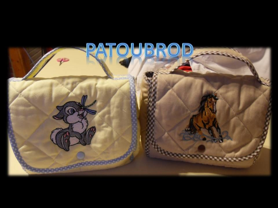 Bags embroidered with horse and bunny