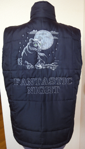 JAcket embroidered with black panther design