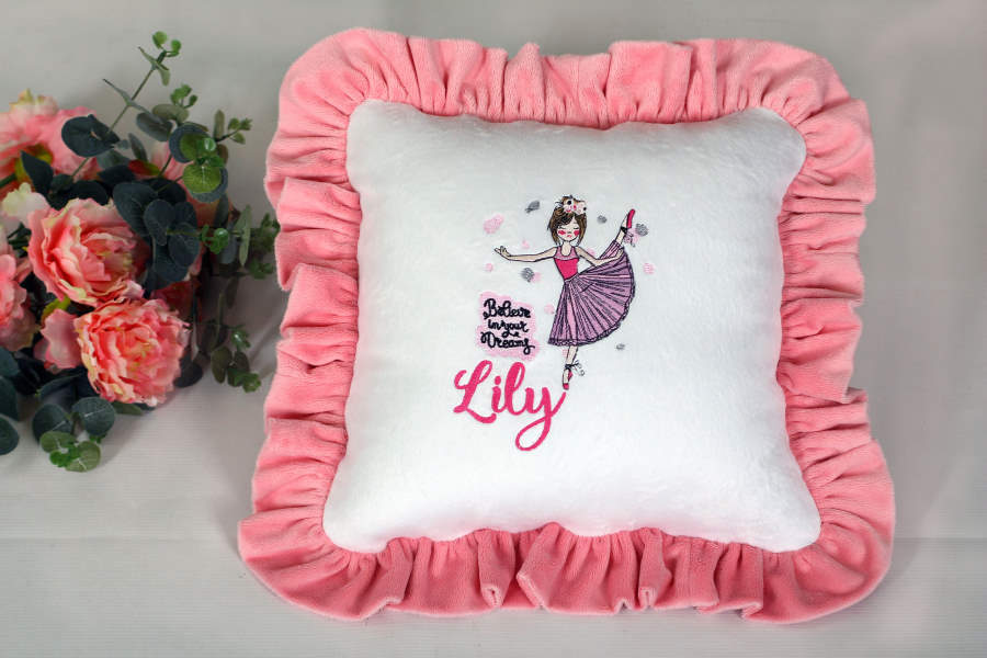 Cushion with ballet dancer embroidery design
