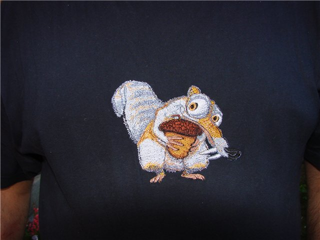 Scrat design on t-shirt embroidered
