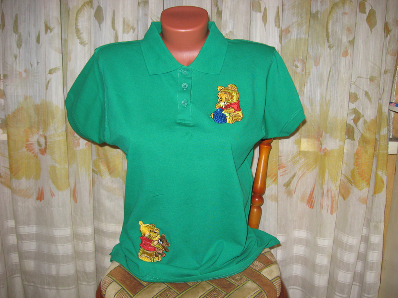 Embroidered Pooh with honey pot on t-shirt