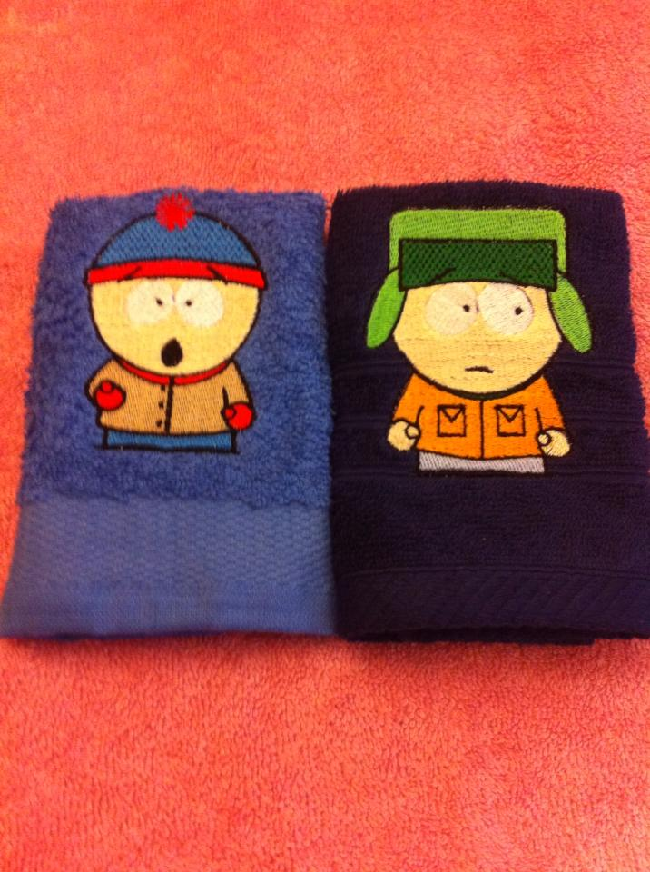 South Park embroidery designs on towels