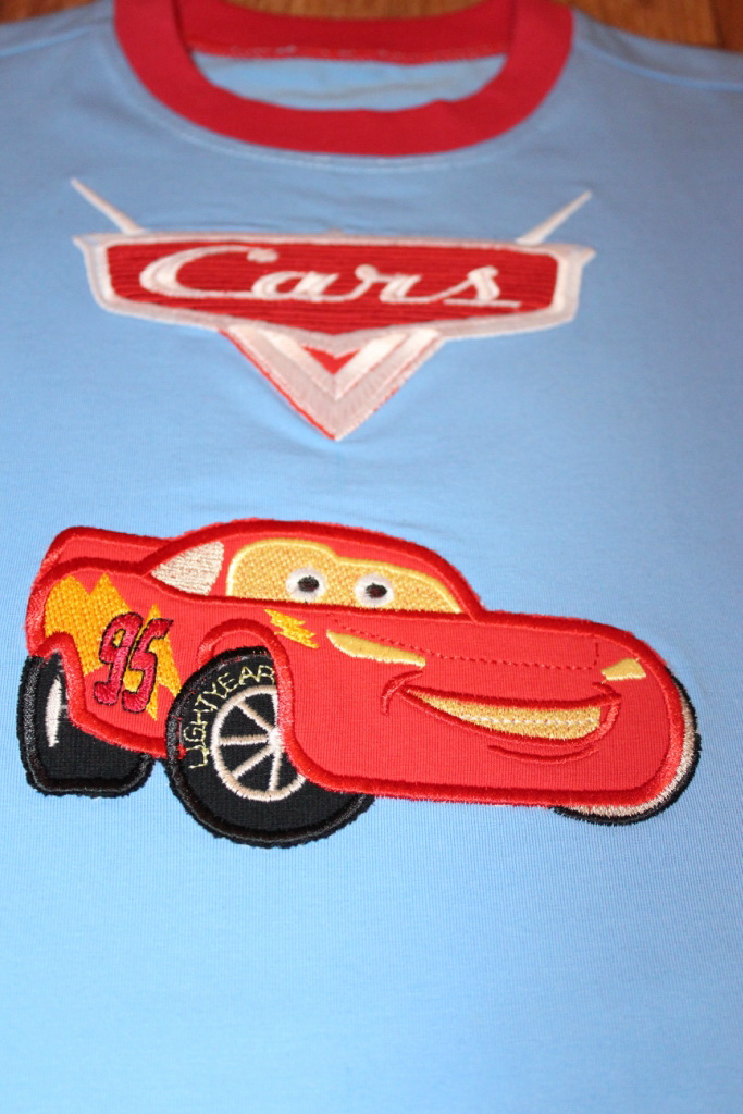 Embroidered Lightning McQueen applique and Cars logo
