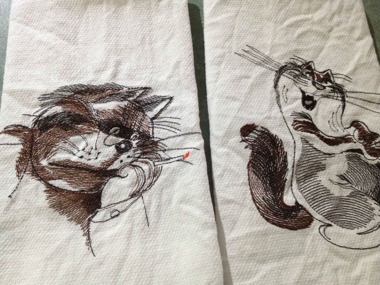 Free cats designs embroidered2