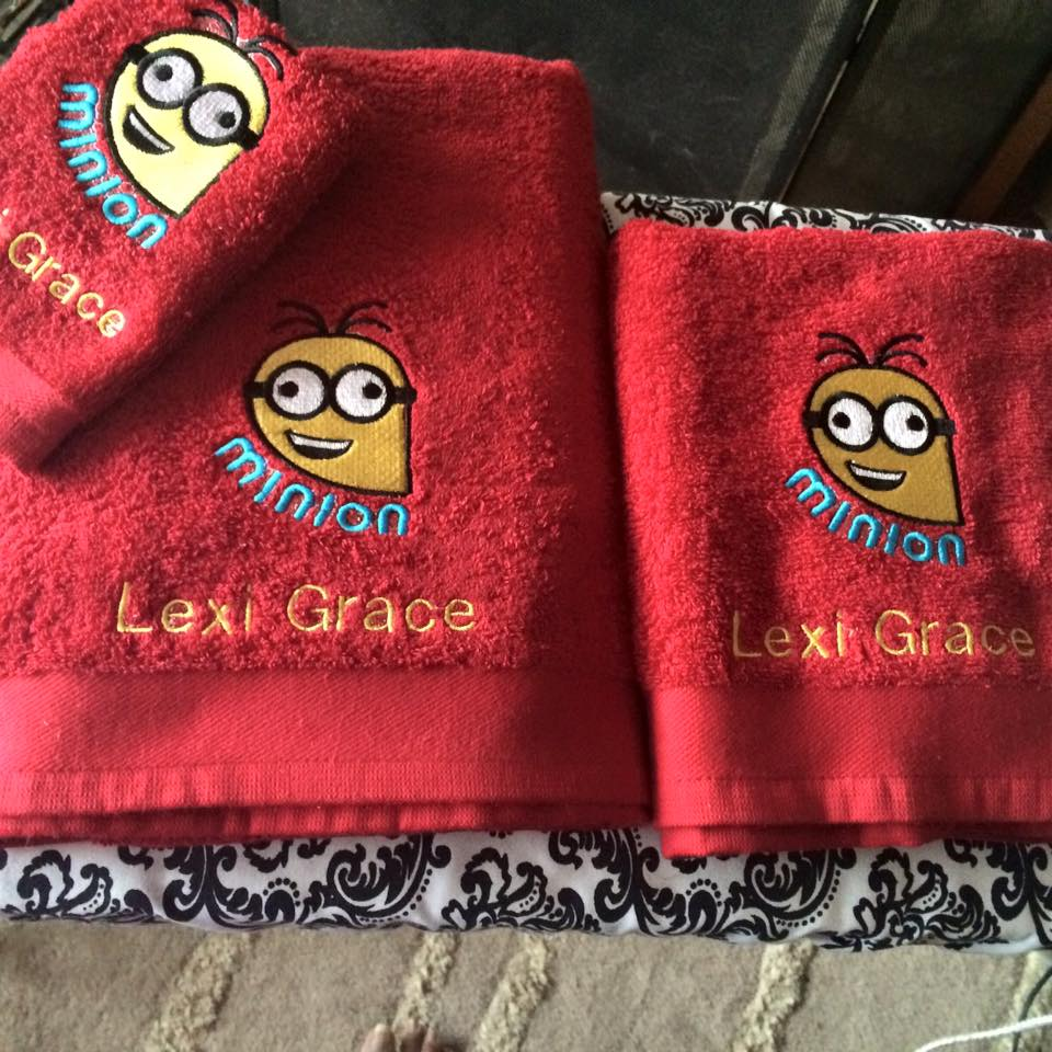 Crazy Minion design on towel embroidered