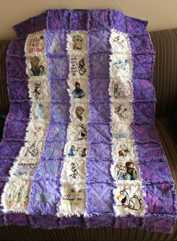 Frozen designs embroidered on quilt