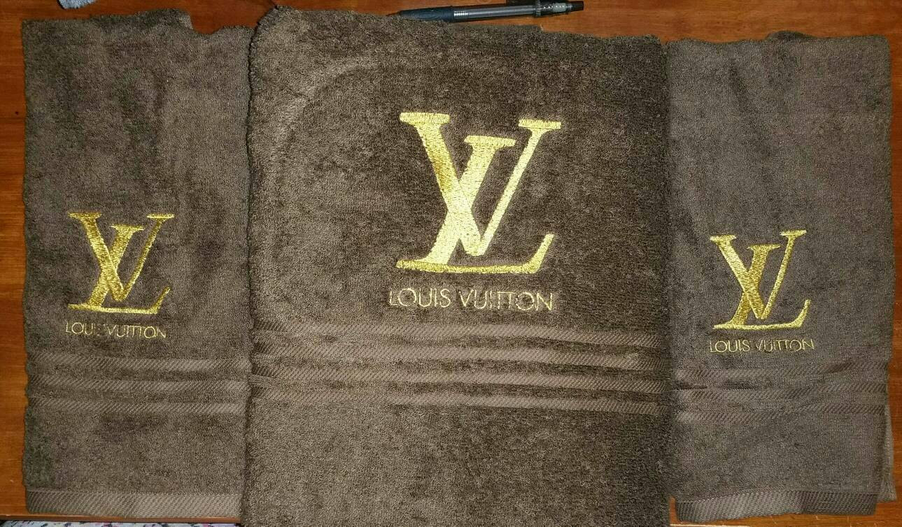 Louis Vuitton logo embroidery design on towel