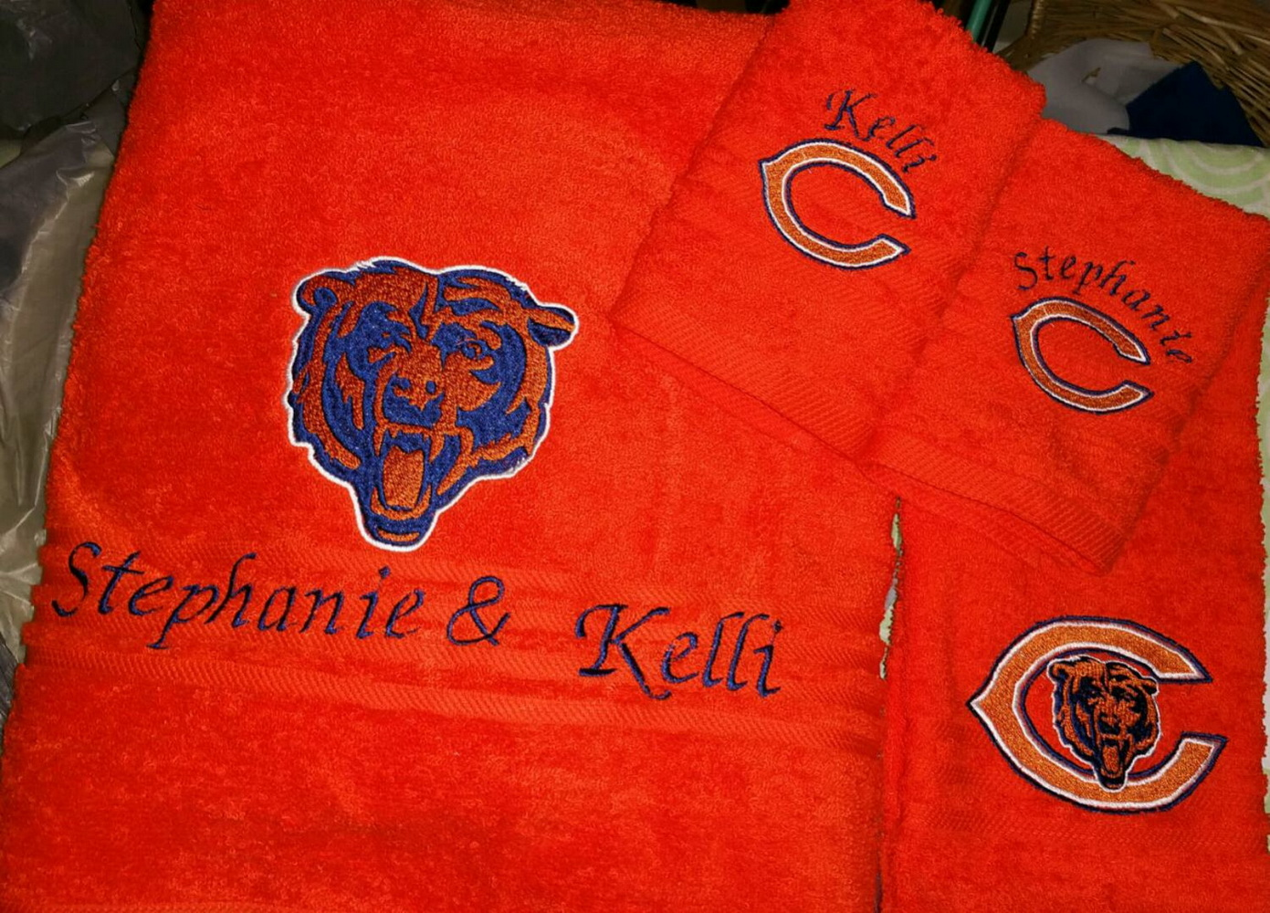 Chicago Bears logo embroidery design on towel