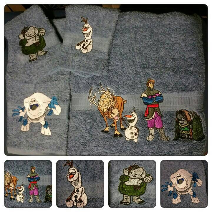Embroidered Frozen heroes on towels