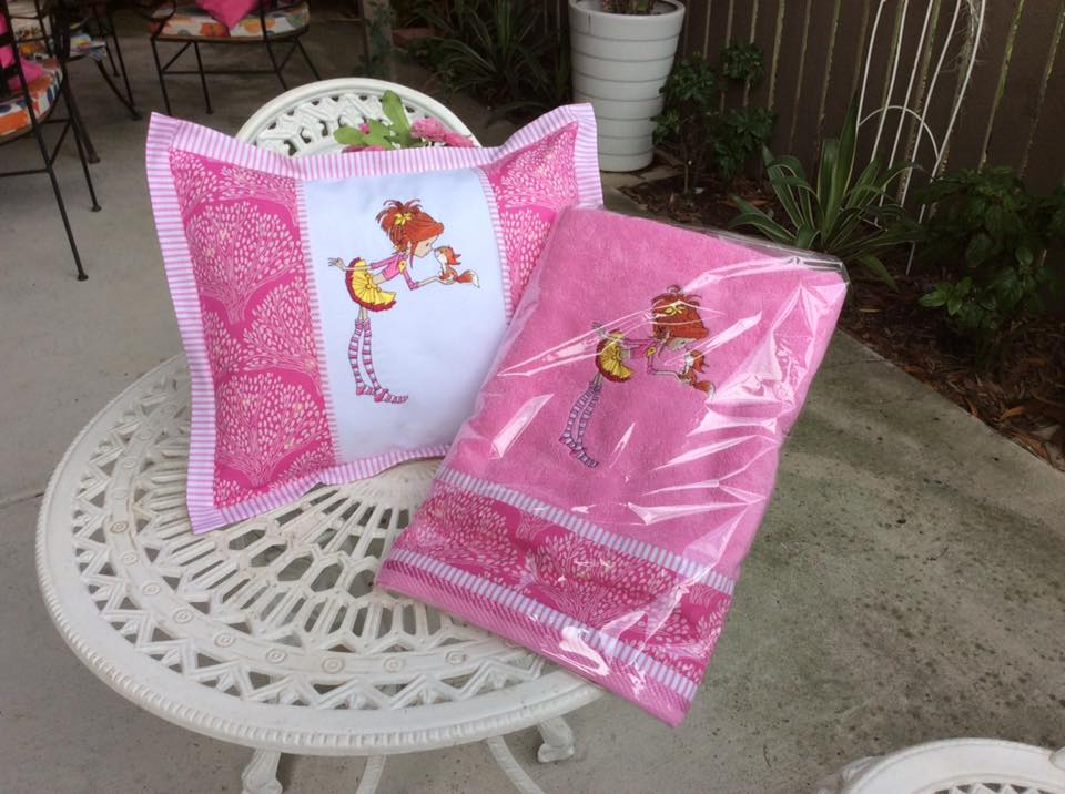 Girl and squirrel embroidery design on pillowcase