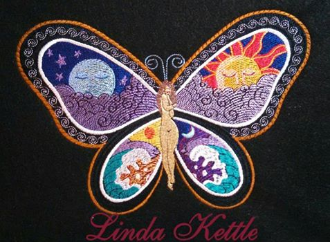 Fantastic Butterfly Night and Day design embroidered