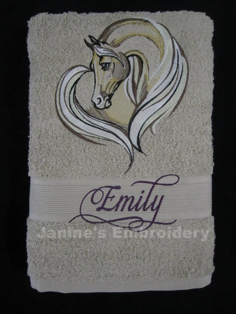 Horse heart design on embroidered towel