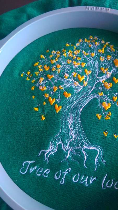 Hoop embroidered shirt tree of our love design
