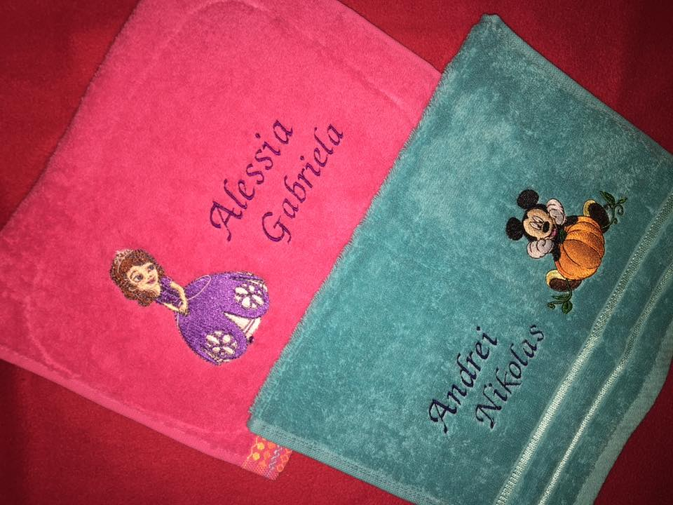 Two bath towels with Sofia the first and Mickey Mouse Halloween embroidery designs