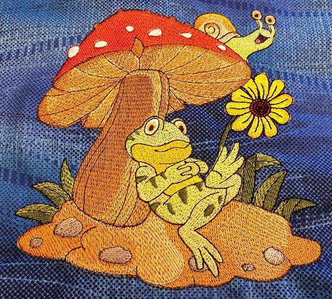 Embroidered resting frog design
