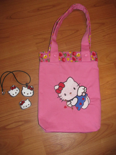 Embroidred textile bag with Hello Kitty