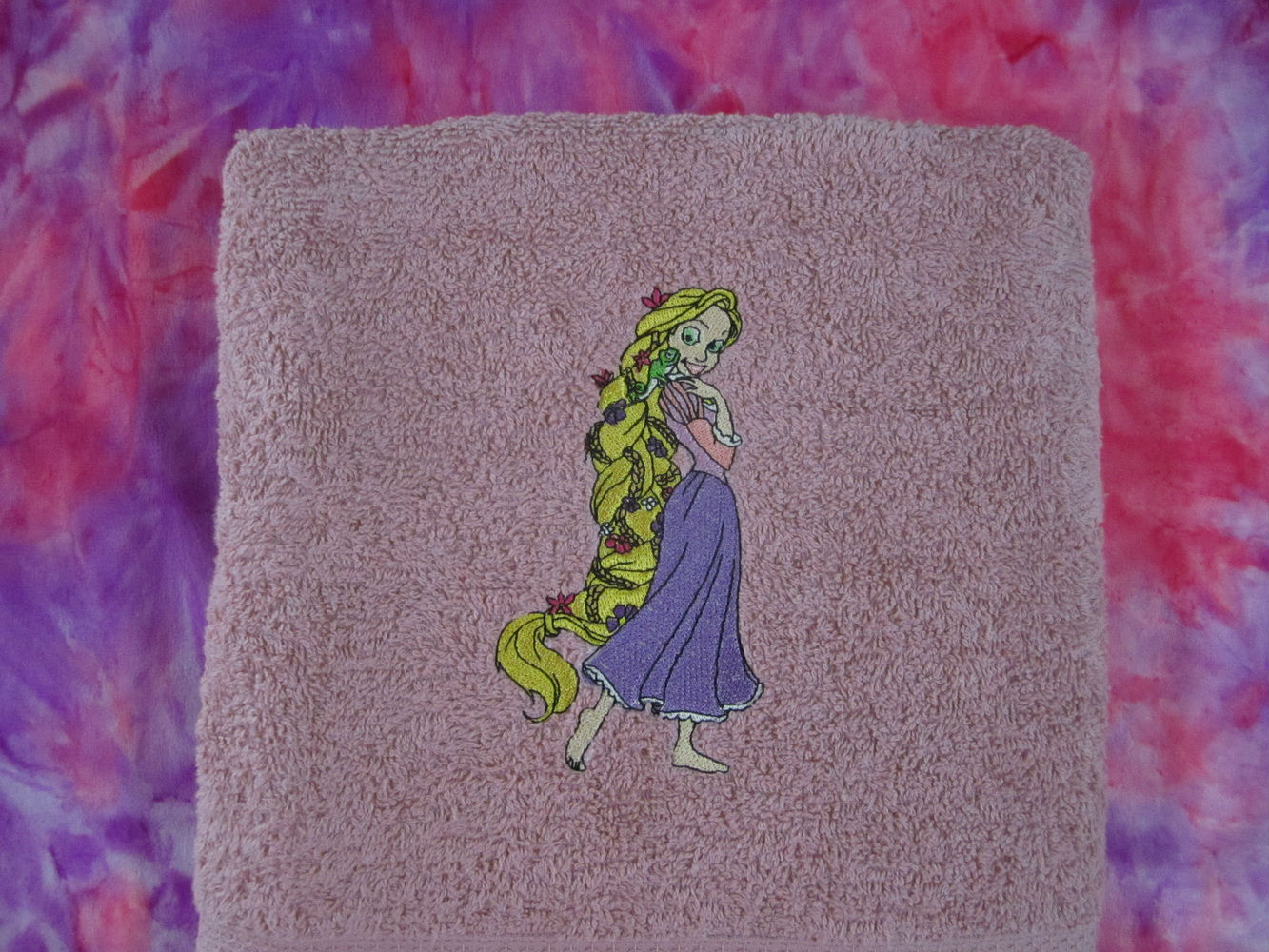 Tangled Beautiful design on towel embroidered