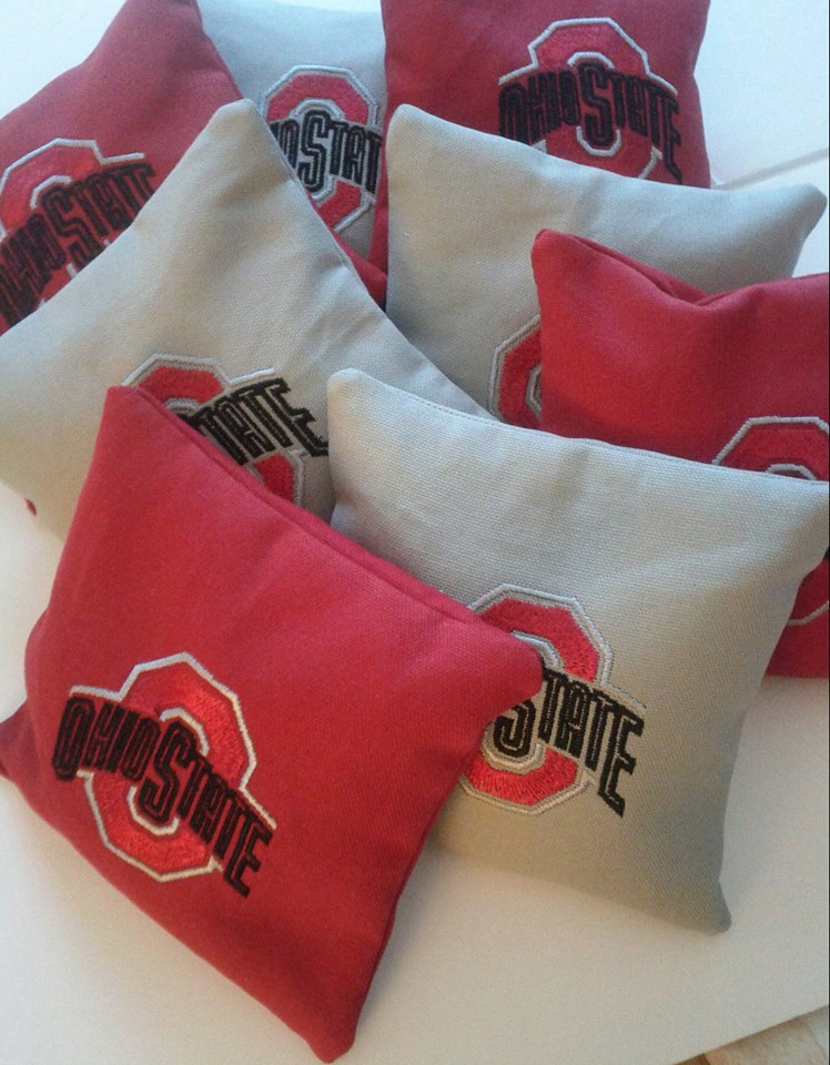 Embroidered Ohio State Buckeyes Logo design on pillowcase