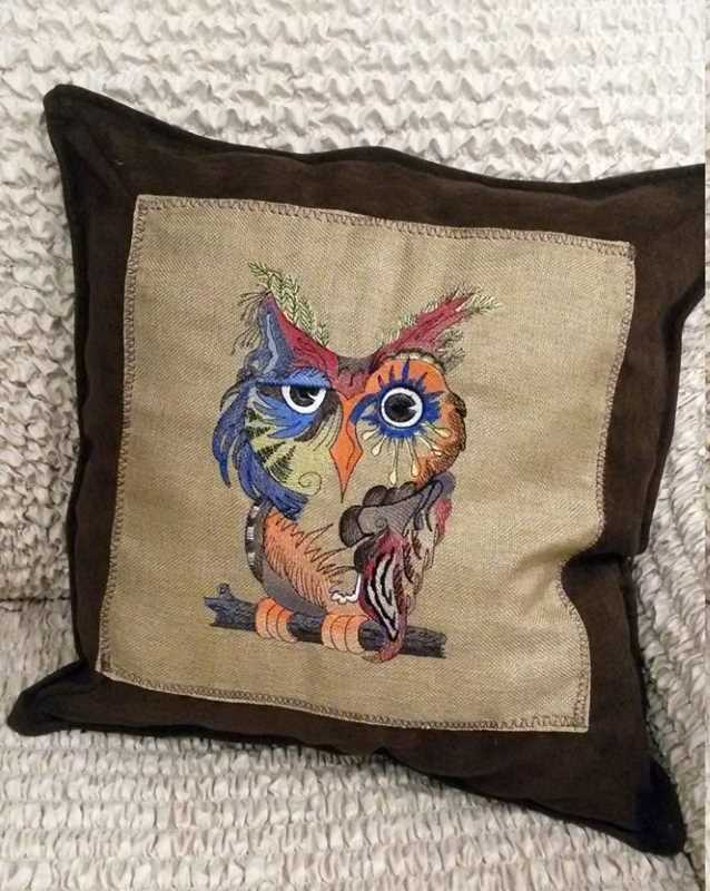 Pillow with bright colors embroidery design