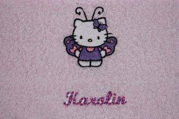 Hello Kitty Butterfly embroidered on towel