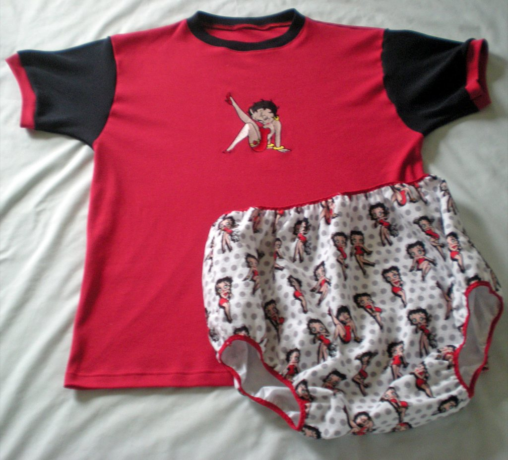 Baby outfit with Betty Boop machine embroidery design