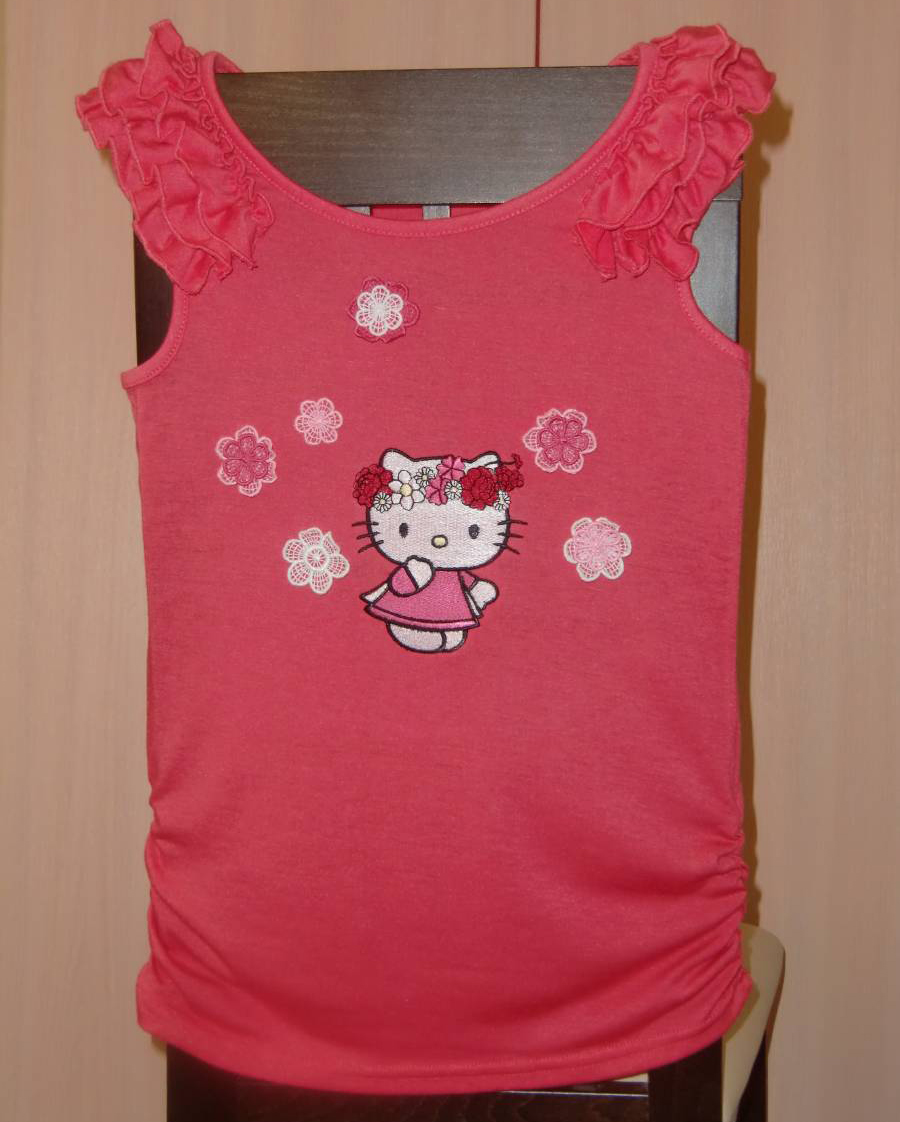 Hello Kitty design embroidered  on t-shirt
