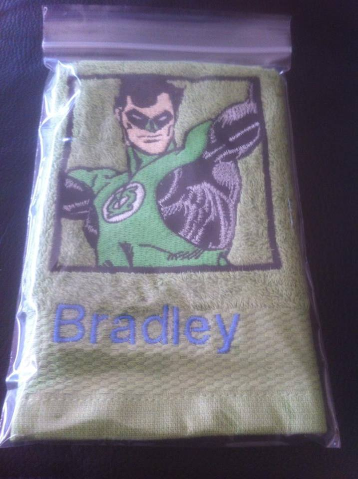 Green Lantern embroidery design on towel